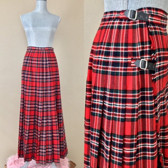 1c7f4a550a7d Vintage Skirts | 60s70s Womens Red Plaid Tartan Long Kilt | Poshmark